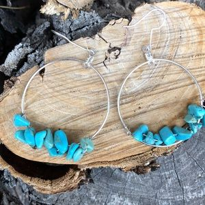 Turquoise Stone Silver Hoop Earrings